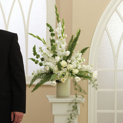 Cream Pedestal Arrangement from your Sebring, Florida florist