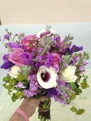 Bridal Clutch Bouquet In Purple and Cream from your Sebring, Florida florist
