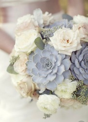 Bridal Clutch of Succulents and Roses from your Sebring, Florida florist