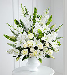 All White Sympathy Vase from your Sebring, Florida florist
