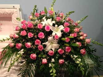 Pink and White Casket Spray from your Sebring, Florida florist