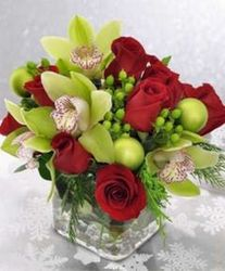 Cube of Orchids and Roses from your Sebring, Florida florist