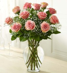 Dozen Pink Roses Arranged