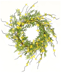 Faux Forsythia Wreath from your Sebring, Florida florist