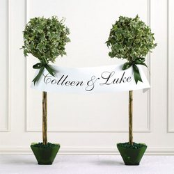 Ivy Topiary Pair With Name Banner from your Sebring, Florida florist