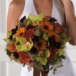Cymbidium & Gerbera Daisy Autumn Bridal Bouquet from your Sebring, Florida florist