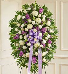 Lavender and White Standing Spray from your Sebring, Florida florist