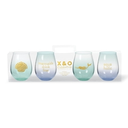 Mermaids 4 Pack Stemless Wine from your Sebring, Florida florist