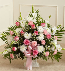 Pink & White Sympathy Basket from your Sebring, Florida florist