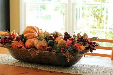 Faux Pumpkin Dough Bowl Centerpiece from your Sebring, Florida florist