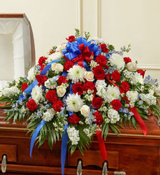 Red White and Blue Half Casket Spray from your Sebring, Florida florist