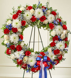 Red White and Blue Standing Wreath from your Sebring, Florida florist