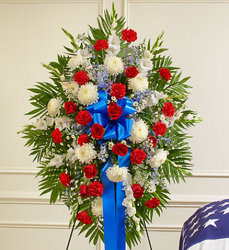 Red White and Blue Sympathy Standing Spray from your Sebring, Florida florist