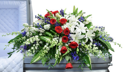 Red White And Blue Casket Spray from your Sebring, Florida florist