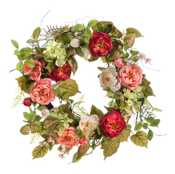 Faux Garden Rose Wreath from your Sebring, Florida florist
