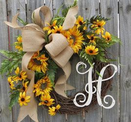 Faux Sunflower Monogram Wreath from your Sebring, Florida florist