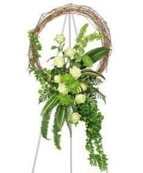 Green and White Grapevine Wreath from your Sebring, Florida florist