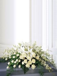 White Mixture Casket Spray from your Sebring, Florida florist